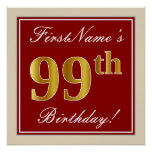 [ Thumbnail: Elegant, Red, Faux Gold 99th Birthday; Custom Name Poster ]