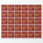 [ Thumbnail: Elegant, Red, Faux Gold 99th Birthday; Custom Name Wrapping Paper ]