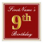 [ Thumbnail: Elegant, Red, Faux Gold 9th Birthday + Custom Name Invitation ]