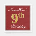 [ Thumbnail: Elegant Red, Faux Gold 9th Birthday + Custom Name Paper Napkin ]