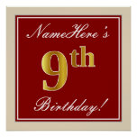 [ Thumbnail: Elegant, Red, Faux Gold 9th Birthday + Custom Name Poster ]