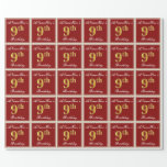 [ Thumbnail: Elegant, Red, Faux Gold 9th Birthday + Custom Name Wrapping Paper ]