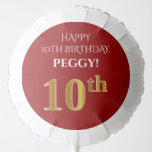 [ Thumbnail: Elegant, Red, Faux Gold Look 10th Birthday Balloon ]