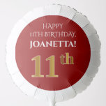 [ Thumbnail: Elegant, Red, Faux Gold Look 11th Birthday Balloon ]