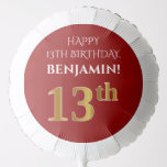 [ Thumbnail: Elegant, Red, Faux Gold Look 13th Birthday Balloon ]