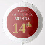 [ Thumbnail: Elegant, Red, Faux Gold Look 14th Birthday Balloon ]