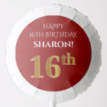 [ Thumbnail: Elegant, Red, Faux Gold Look 16th Birthday Balloon ]