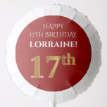 [ Thumbnail: Elegant, Red, Faux Gold Look 17th Birthday Balloon ]
