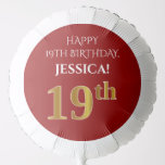 [ Thumbnail: Elegant, Red, Faux Gold Look 19th Birthday Balloon ]