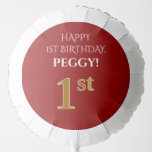 [ Thumbnail: Elegant, Red, Faux Gold Look 1st Birthday Balloon ]