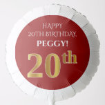 [ Thumbnail: Elegant, Red, Faux Gold Look 20th Birthday Balloon ]