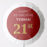[ Thumbnail: Elegant, Red, Faux Gold Look 21st Birthday Balloon ]