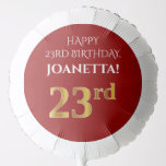 [ Thumbnail: Elegant, Red, Faux Gold Look 23rd Birthday Balloon ]