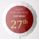 [ Thumbnail: Elegant, Red, Faux Gold Look 27th Birthday Balloon ]