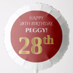 [ Thumbnail: Elegant, Red, Faux Gold Look 28th Birthday Balloon ]