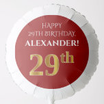 [ Thumbnail: Elegant, Red, Faux Gold Look 29th Birthday Balloon ]