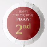 [ Thumbnail: Elegant, Red, Faux Gold Look 2nd Birthday Balloon ]