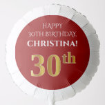 [ Thumbnail: Elegant, Red, Faux Gold Look 30th Birthday Balloon ]