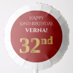 [ Thumbnail: Elegant, Red, Faux Gold Look 32nd Birthday Balloon ]