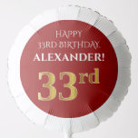 [ Thumbnail: Elegant, Red, Faux Gold Look 33rd Birthday Balloon ]