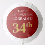 [ Thumbnail: Elegant, Red, Faux Gold Look 34th Birthday Balloon ]