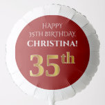 [ Thumbnail: Elegant, Red, Faux Gold Look 35th Birthday Balloon ]
