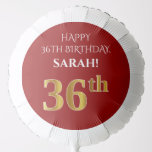 [ Thumbnail: Elegant, Red, Faux Gold Look 36th Birthday Balloon ]
