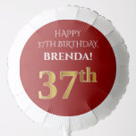 [ Thumbnail: Elegant, Red, Faux Gold Look 37th Birthday Balloon ]