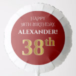 [ Thumbnail: Elegant, Red, Faux Gold Look 38th Birthday Balloon ]