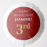 [ Thumbnail: Elegant, Red, Faux Gold Look 3rd Birthday Balloon ]