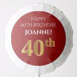 [ Thumbnail: Elegant, Red, Faux Gold Look 40th Birthday Balloon ]