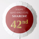[ Thumbnail: Elegant, Red, Faux Gold Look 42nd Birthday Balloon ]