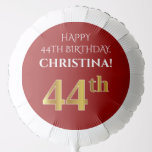 [ Thumbnail: Elegant, Red, Faux Gold Look 44th Birthday Balloon ]