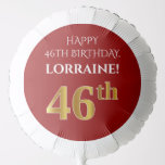 [ Thumbnail: Elegant, Red, Faux Gold Look 46th Birthday Balloon ]