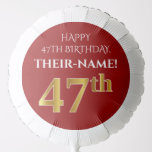[ Thumbnail: Elegant, Red, Faux Gold Look 47th Birthday Balloon ]