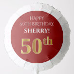 [ Thumbnail: Elegant, Red, Faux Gold Look 50th Birthday Balloon ]