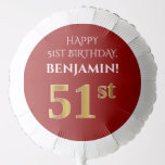 [ Thumbnail: Elegant, Red, Faux Gold Look 51st Birthday Balloon ]