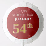 [ Thumbnail: Elegant, Red, Faux Gold Look 54th Birthday Balloon ]