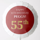 [ Thumbnail: Elegant, Red, Faux Gold Look 55th Birthday Balloon ]
