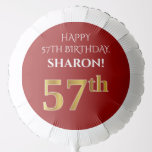 [ Thumbnail: Elegant, Red, Faux Gold Look 57th Birthday Balloon ]