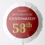 [ Thumbnail: Elegant, Red, Faux Gold Look 58th Birthday Balloon ]