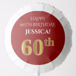 [ Thumbnail: Elegant, Red, Faux Gold Look 60th Birthday Balloon ]