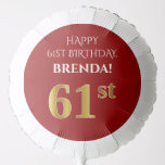 [ Thumbnail: Elegant, Red, Faux Gold Look 61st Birthday Balloon ]