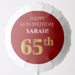 [ Thumbnail: Elegant, Red, Faux Gold Look 65th Birthday Balloon ]