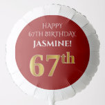 [ Thumbnail: Elegant, Red, Faux Gold Look 67th Birthday Balloon ]