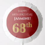 [ Thumbnail: Elegant, Red, Faux Gold Look 68th Birthday Balloon ]