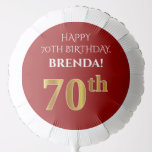 [ Thumbnail: Elegant, Red, Faux Gold Look 70th Birthday Balloon ]