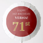 [ Thumbnail: Elegant, Red, Faux Gold Look 71st Birthday Balloon ]