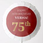 [ Thumbnail: Elegant, Red, Faux Gold Look 75th Birthday Balloon ]