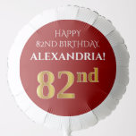 [ Thumbnail: Elegant, Red, Faux Gold Look 82nd Birthday Balloon ]
